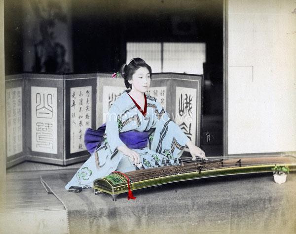 80302-0115-PP - Woman Playing Koto