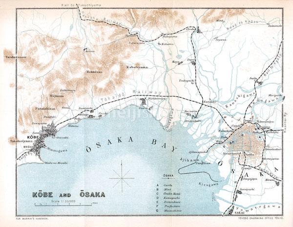 70411-0019 - Map of Osaka, Hyogo 1903