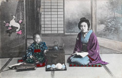 70420-0004 - Woman and Boy in Kimono